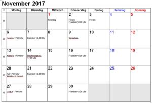 WBG Werdohl Kalender 11.2017